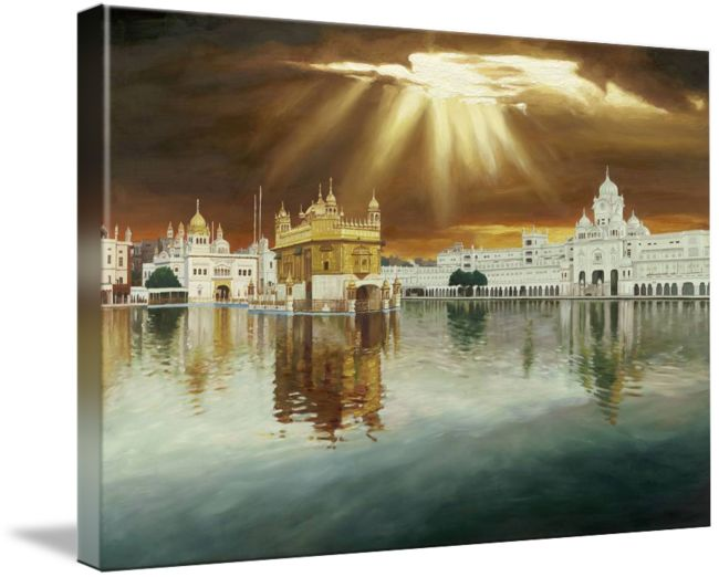 """""""Golden Temple Sunset Painting"""" by SikhPhotos.com Gallery, Espanola, New Mexico // Oil painting of the Sikh Temple (Golden Temple) in Amritsar, Punjab - IndiaThe Hari Mandir, now called the Golden Temple, is a living symbol of the spiritual and historical traditions of the Sikhs. The tank and the temple have been a source of inspiration to the Sikh communi... // Imagekind.com -- Buy stunning fine art prints, framed prints and canvas prints directly from independent working artists and…"""