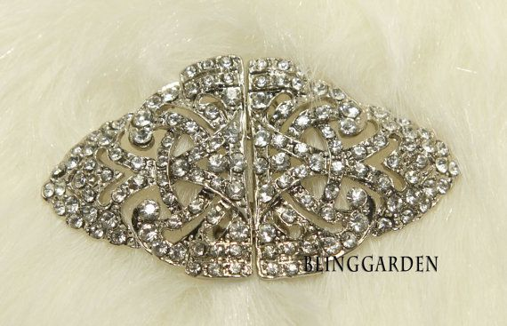 Rhombus Jewelry Craft Rhinestone Crystals Wedding Bridal Dress Belt Fastener Buckle Matching Button - Slider style -