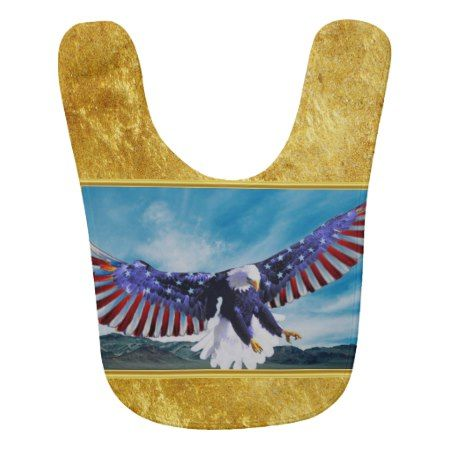 American flag Eagle flying in the sky gold foil tap/click to personalize or buy right now! a custom baby bib #baldeagles #patrioticdesigns #Americanflag #4thOfJuly