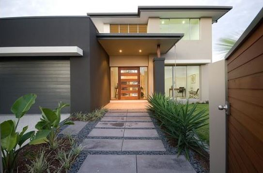 Dark Charcoal with neutral beige and light grey trims with timber feature front door