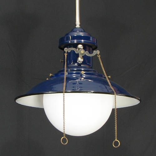 Reproduction Gas Style Lantern In Cobalt Blue Pw Vintage Lighting