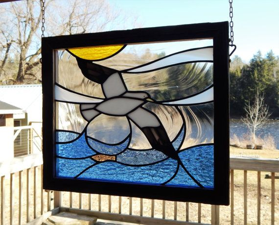Stained Glass Herring Gull Panel with by RedfordGlassStudio