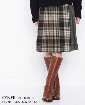 O'NEIL OF DUBLIN[オニール・オブ・ダブリン] フロントプリーツラップスカート チェック3色 115C【楽天市場】