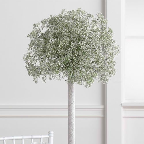 this could be nice for the ceremony...like 3 or so along each side of the aisle way. baby's breath with a few billy balls? pvc pipe wrapped in twine (or something else that matches nice) and stuck into the ground.