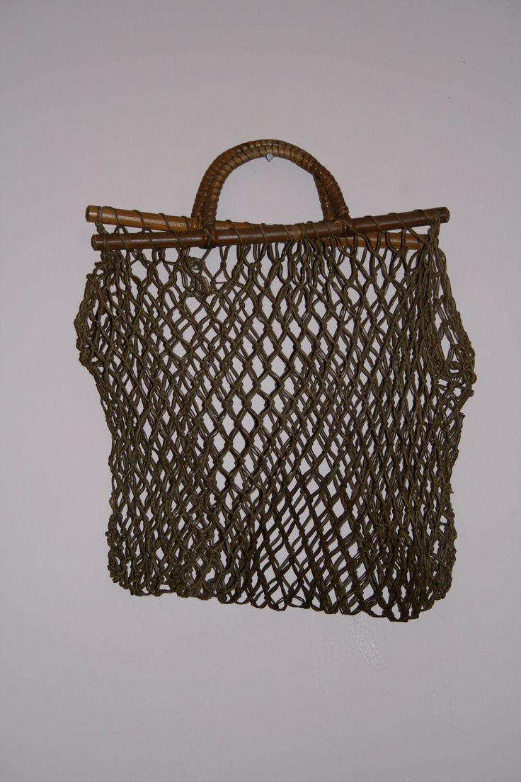 Vintage Crochet net rope bag /tote w/wooden frame