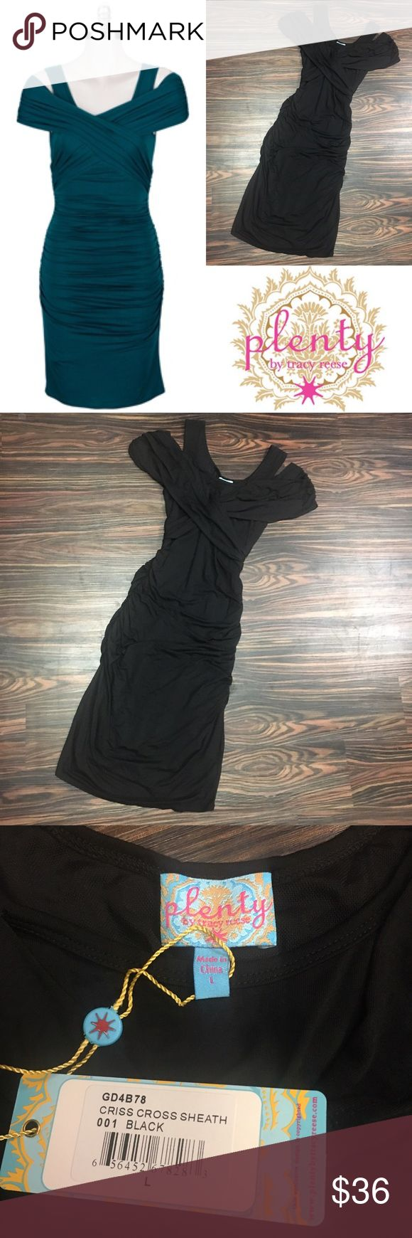 Plenty by Tracy Reese cross cross black dress Perfect for any occasion. Flattering and butter soft Plenty by Tracy Reese cross cross dress with built in spanx lining for smoothness. Plenty by Tracy Reese Dresses