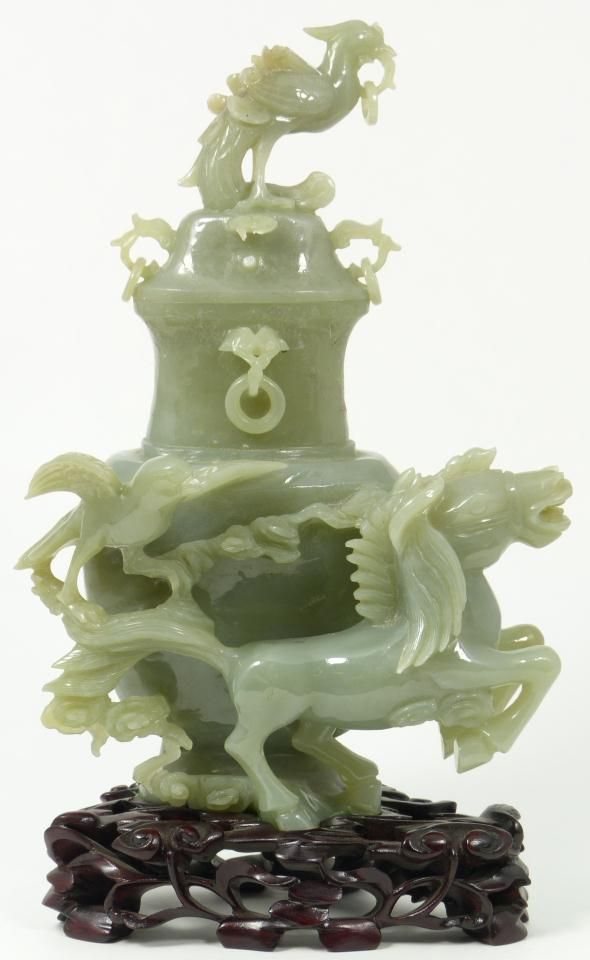 Antique Chinese hand carved celadon jade galloping horse horse covered vase vessel.