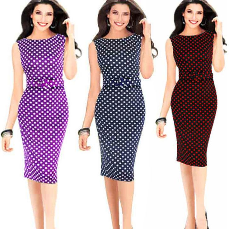 Find More Dresses Information about Aliexpress selling large size women sleeveless T shirt polka dot dress bag hip pencil  with belt S 5XL,High Quality pencil gel,China bag vietnam Suppliers, Cheap bag rose from Etaobey Store on Aliexpress.com