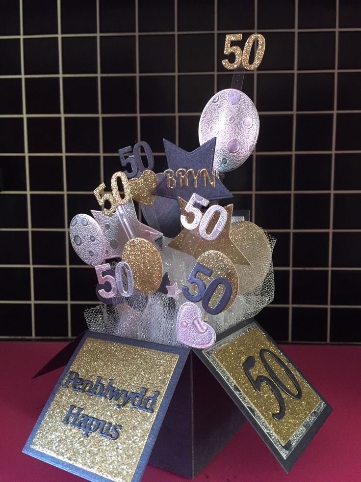 Tattered Lace pop up box die set, welsh sentiments, alphabet & numbers dies used to make this male 50th birthday card in gold, silver and black card stock.