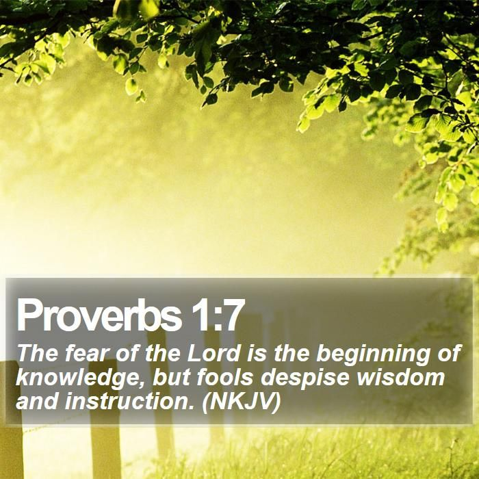 Proverbs 1:7 The fear of the Lord is the beginning of knowledge, but fools despise wisdom and instruction. (NKJV)