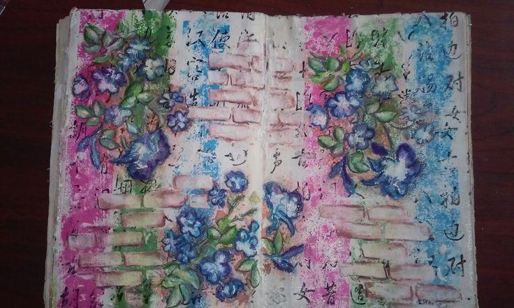 Art journal. Gesso, inks, stencil