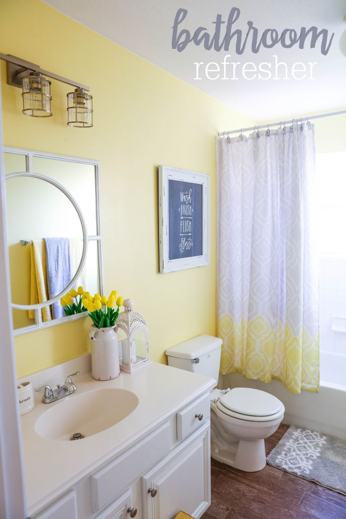 Best 25 yellow bathrooms ideas on pinterest yellow for Purple and yellow bathroom ideas