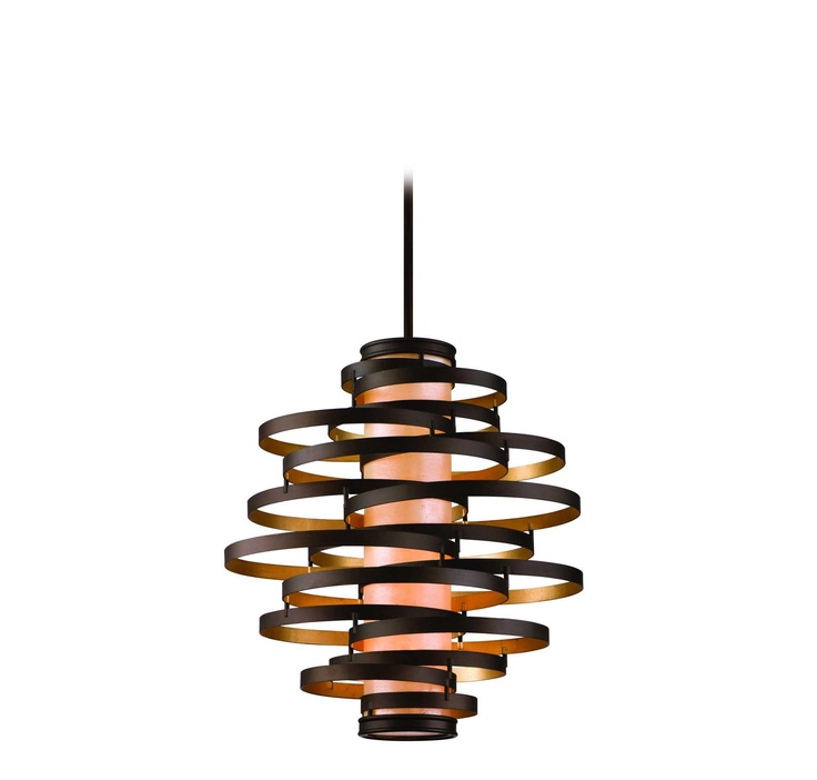 corbett lighting vertigo bronzegold leaf 4lt pendant