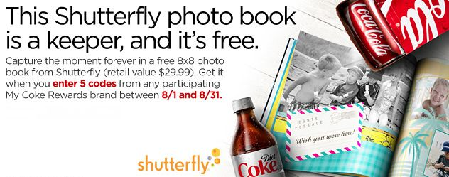 My Coke Rewards: Free 8×8 Shutterfly Photo Book with 5 Code Entries (8/1-8/31) – Hip2Save