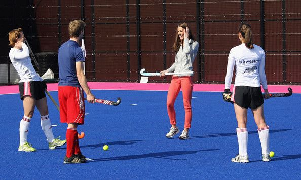 March 15, 2012 - The Duchess of Cambridge shows off her old skills during a visit to the Great Britain hockey team at the Olympic park in east London on Thursday. The duchess, who used to captain the first XI at Marlborough college received a team shirt from the women's hockey captain, Kate Walsh.