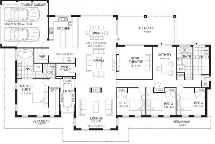 Oooo this is a goodie today. A big house, but still a really good plan. I love a u-shaped house… I always imagine a pool and outdoor area fit for a king in all of that enclosed space. I wouldn't need to change anything in this house. It's got a formal lounge, theatre room plus an activity area. There's also a computer nook tucked away. The triple car garage is perfect and the 5th bedroom really makes this a spacious home. You'd need a large block for this house, or even a corner block…