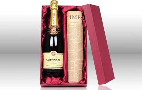 $169 Taittinger Champagne & Newspaper from the day of your wedding in a gift box.