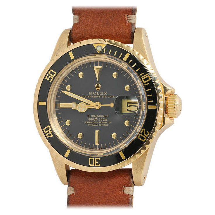 Rolex Yellow Gold Submariner Wristwatch Ref 1680 circa 1978   From a unique collection of vintage wrist watches at http://www.1stdibs.com/jewelry/watches/wrist-watches/