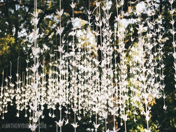 White origami cranes garland set of 10 string dance for 1000 paper cranes wedding decoration