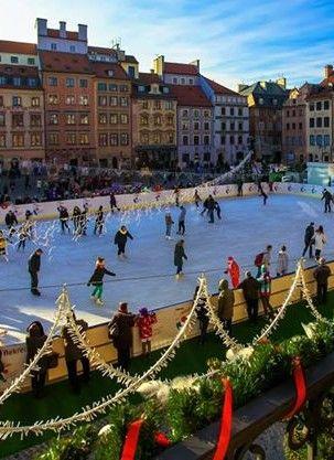 Ice skating in Old Town square Warszawa