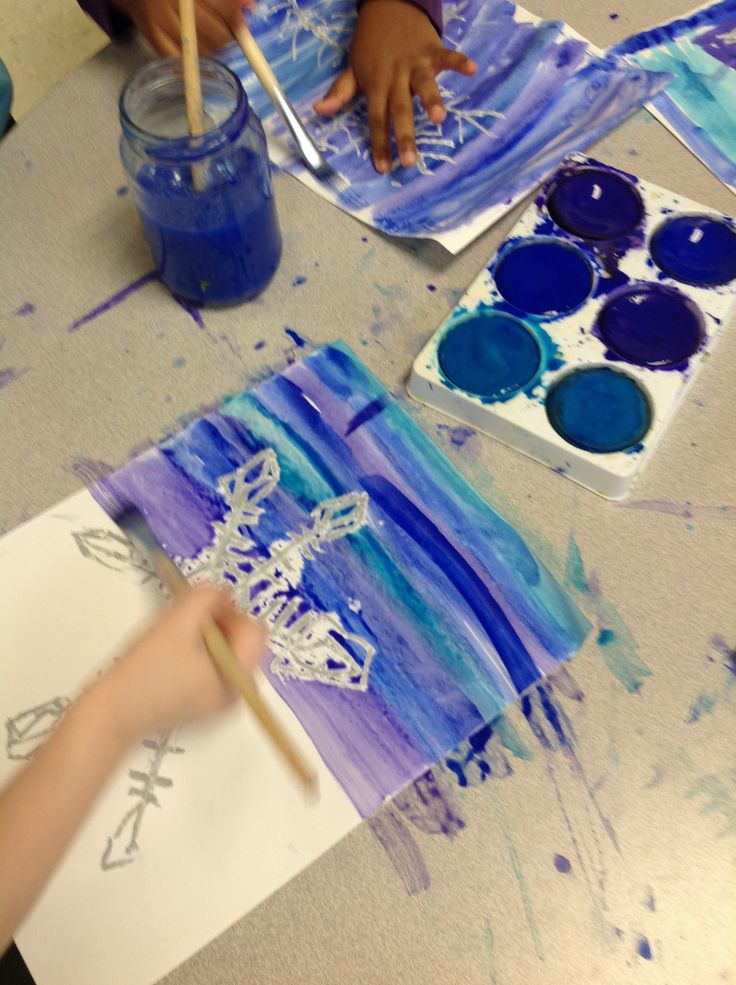 Creating unique snowflakes using colour resist art technique. http://www.wondersinkindergarten.blogspot.ca/2014/02/our-snowflake-inquiry-further-learning.html