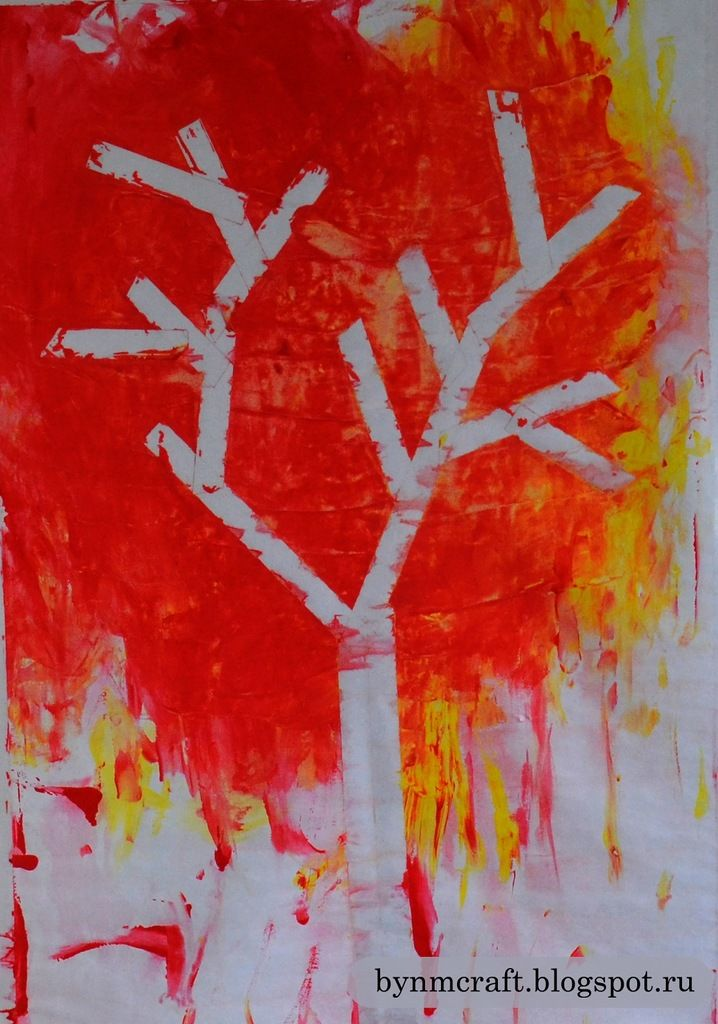 Fall Art Ideas! Use scotch painters tape on a piece of paper and have kids paint over it...then remove the tape for a unique design!