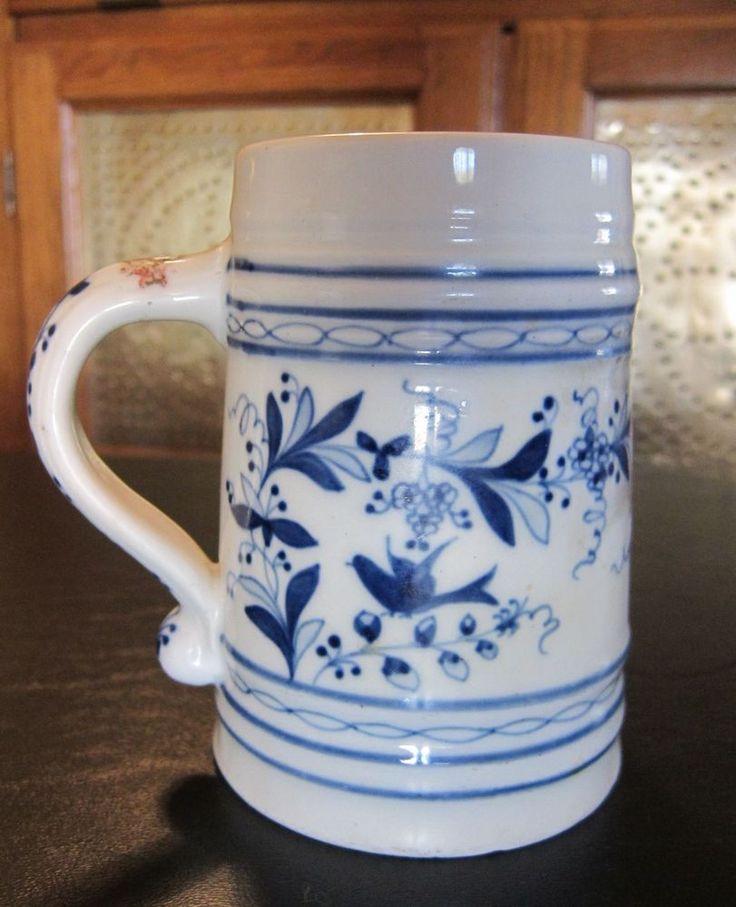 Antique Caughley Porcelain Stein/Mug - Regiment 1785 - Translucent Image Bottom #Caughley