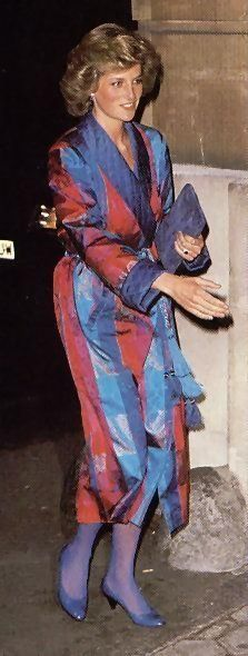 Princess Diana circa 1985. Looks like: March 19, 1985: Princess Diana at a reception at Lancaster House held for London Fashion Week. Same hairstyle as well as pink/blue robe style gown..
