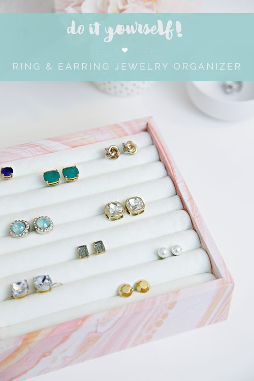 IHeart Organizing: DIY Ring & Earring Jewelry Organizer-- make a custom one for the top drawer of my shoe cabinet