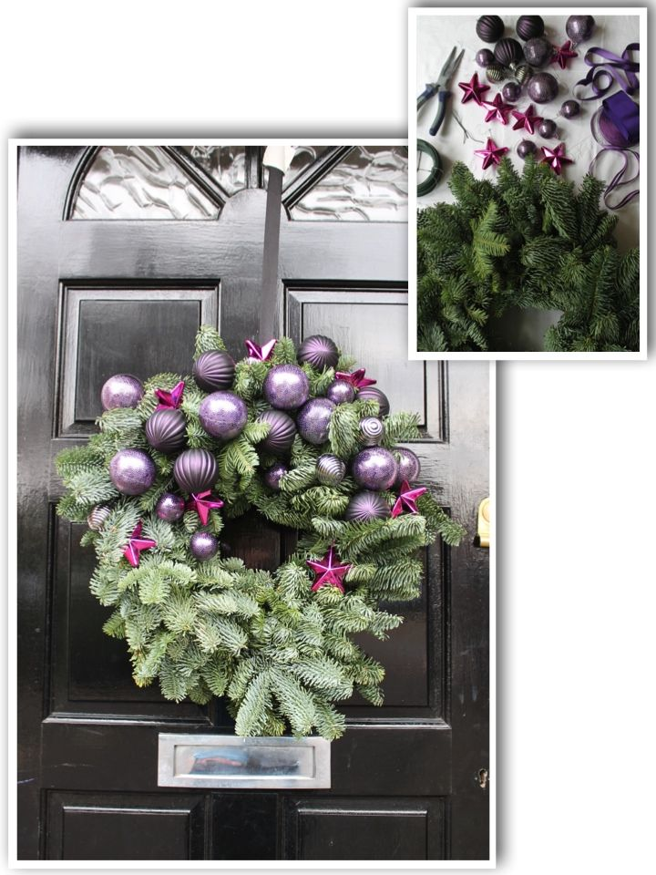 Personalise Your Wreath. Natural wreath with purple and pink baubles . More inspiration on Livingcolourstyle.com