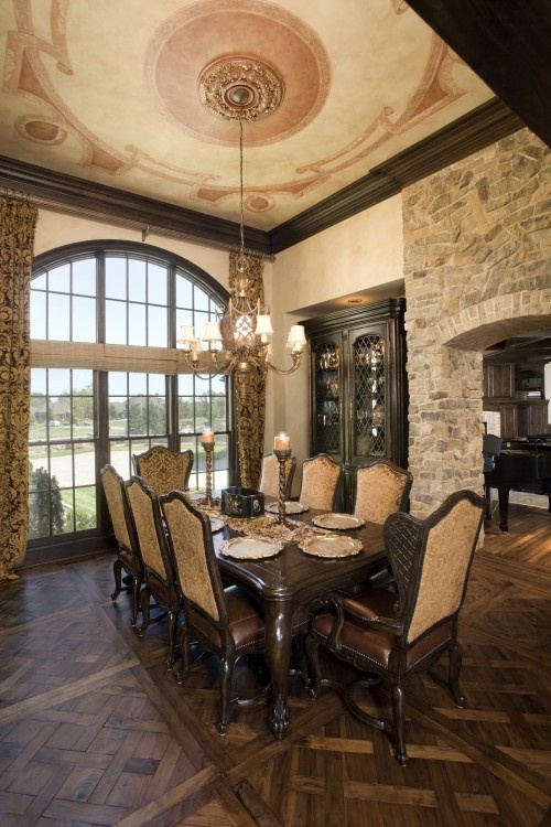 Tuscan style Formal Dining room with trompe l'oeil ceiling...
