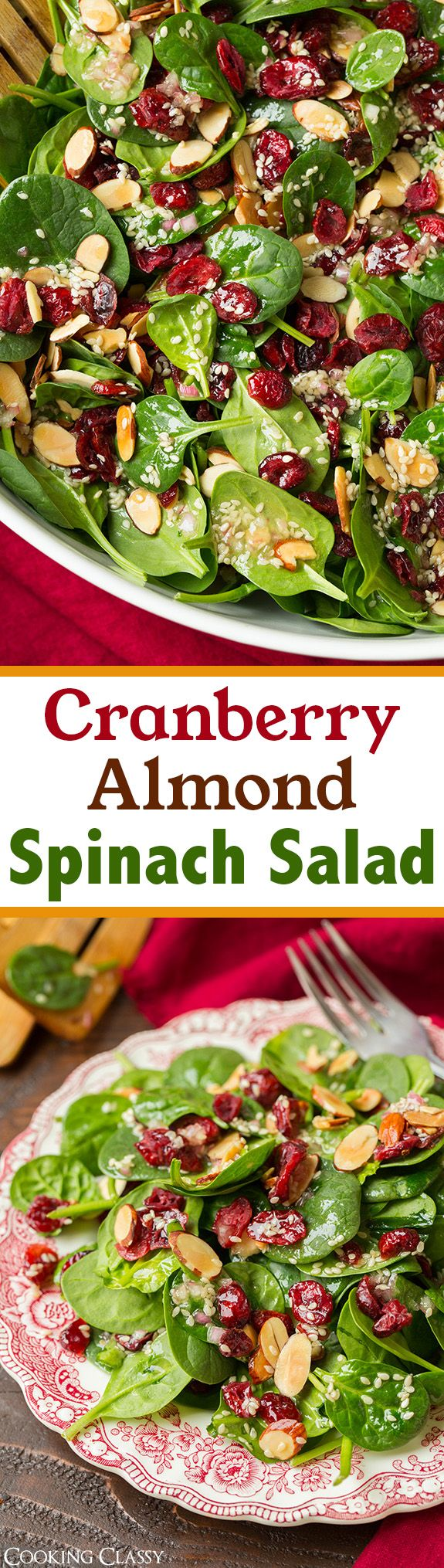 Cranberry Almond Spinach Salad // baby spinach, almonds, dried cranberries, olive oil, white sugar, agave nectar, shallot, white wine vinegar, apple cider vinegar, sesame seeds, poppy seeds