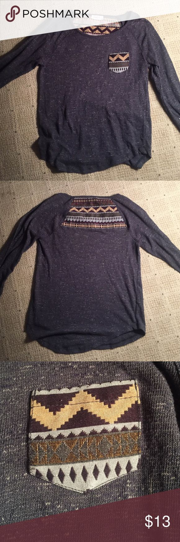 Navy blue Aztec long sleeve Navy blue long sleeve with an Aztec pattern on the front pocket and and on the back.  It is an extra small from Pacsun.  Super comfy only worn once feel free to negotiate!😊 PacSun Tops Tees - Long Sleeve