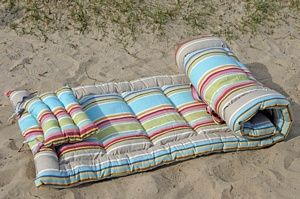 Roll-Up Padded Beach Mattress - Dorset Stripe £59.00 - Beach Mats & Rugs Beach bags | Beach towels | Windbreak | Beach chairs | Beach parasols | Beach Tents | Beach Toys | Deckchairs - The Seaside Company