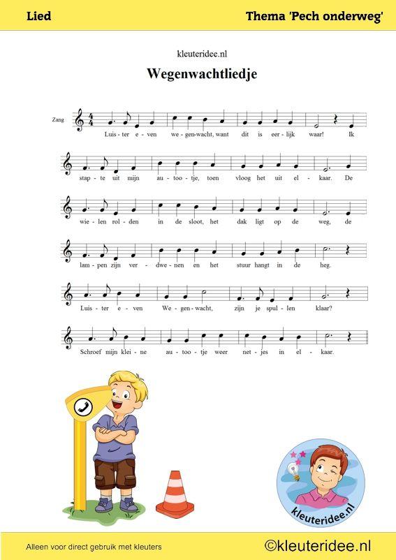 Liedje voor kleuters, Luister even wegenwacht. thema Pech onderweg, kleuteridee