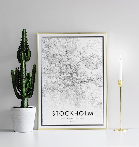 Poster with Stockholm map | Black and white prints