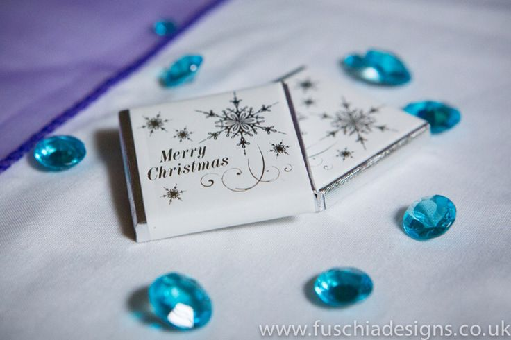 Merry Christmas milk chocolates with silver snowflakes on by www.fuschiadesigns.co.uk