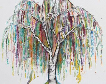 Water color willow tree tattoo