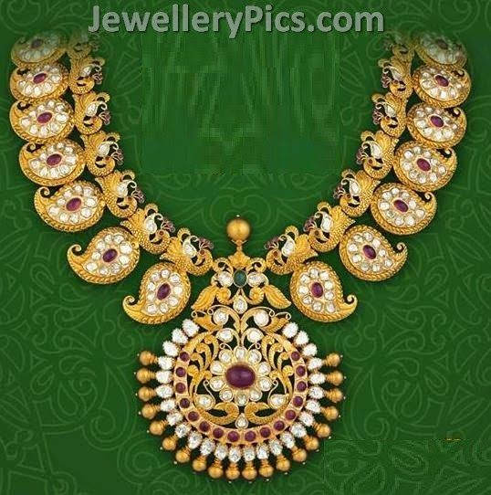 Mango mala in combination of rubies and diamonds - Latest Jewellery Designs