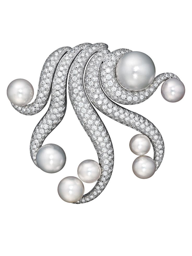 "Verdura ""Octopus"" Pearl and Diamond Brooch"