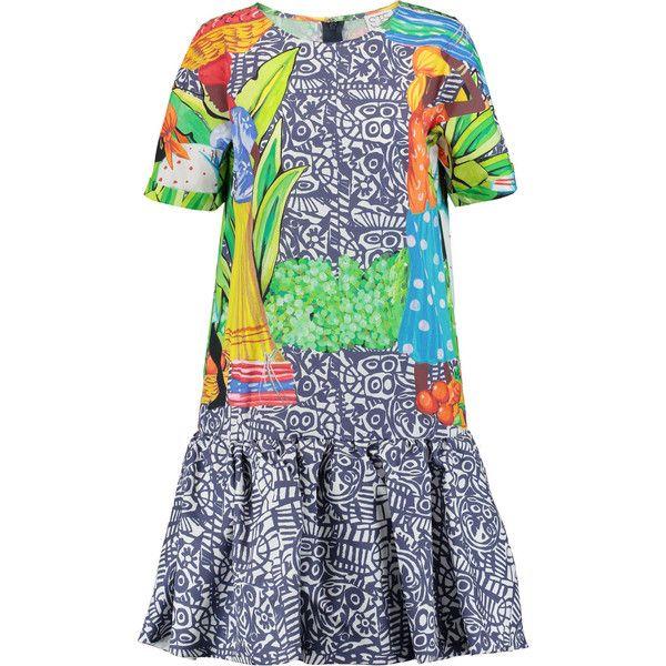 Stella Jean Printed cotton mini dress (£243) ❤ liked on Polyvore featuring dresses, navy, short dresses, short navy dress, ruched mini dress, navy dress and colorful dresses