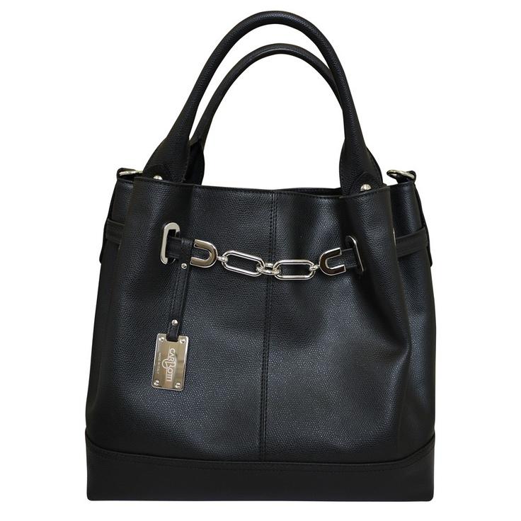 Fabulous Designer Italian Gold Chain Leather Hobo Handbag Black