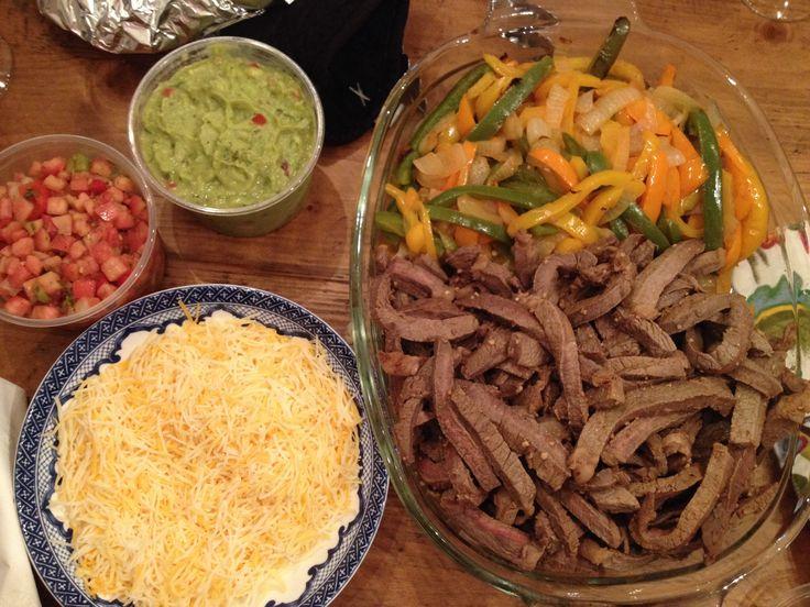 steak fajitas. Using round steak marinated in lime juice, chili ...