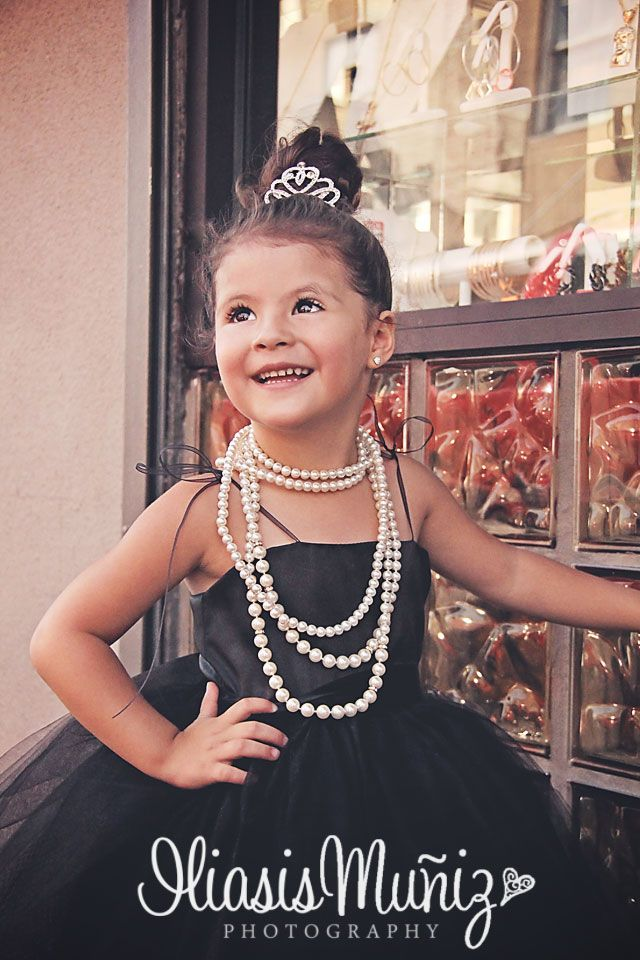 www.iliasismunizphotography.com Breakfast at Tiffany's, black tiffany's dress, pearls, little girl in Tiffany's outfit, Downtown.