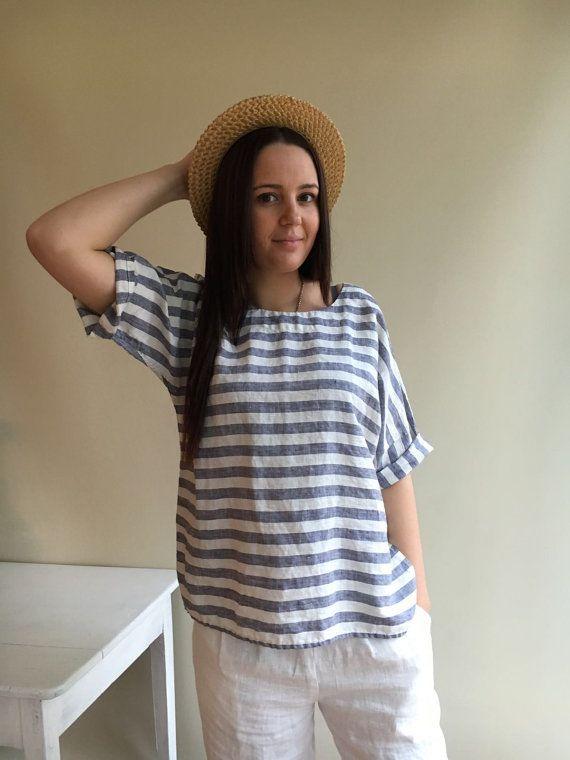 Linen Top Linen Shirt Women Shirt with Sleeves by Linenbeeshop