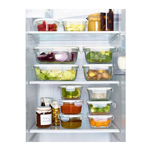 Glass food storage containers from Ikea make for an organized refrigerator!