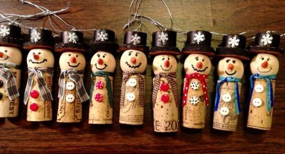 Wine cork snow man Christmas ornament. The hats are made from a wine cork too! by nancy