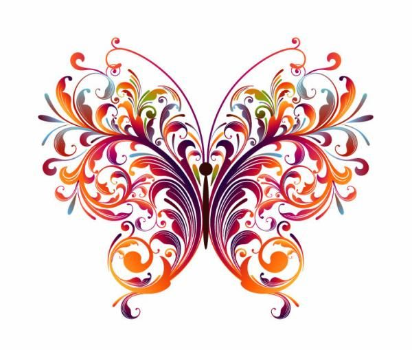 Abstract Floral Butterfly Vector Graphic