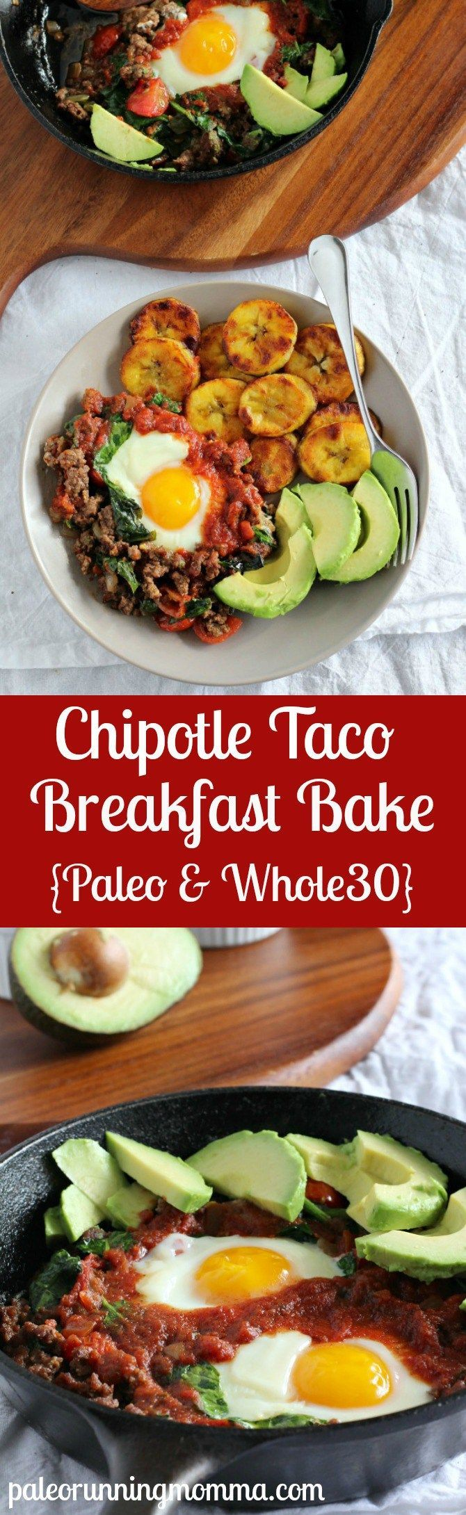 This delicious chipotle taco breakfast bake is perfect for anyone on the Paleo diet. It's grain-free and dairy-free, making this dish the perfect healthy breakfast recipe.