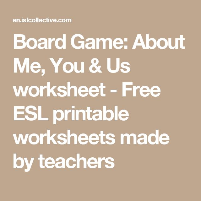 Board Game: About Me, You & Us worksheet - Free ESL printable worksheets made by teachers